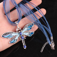 Wholesale Vintage Dragonfly Crystal Pendant Necklace Lace String Necklace Women Statement Necklaces Colors Bronze Retro Jewelry
