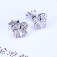 alphabet butterfly - 2016 Butterfly Silver Stud Earrings Split Evening Dresses Accessories crystal Earrings In Europe And America Hot Sales oscar 5