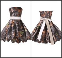 big red cocktail dress - Cocktail Dresses Short Camo Party Gown A Big Bow Sashed Strapless Zipper Back Prom Dresses Sample Design Camo Evening Party Dresses