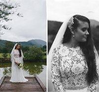 wedding dresses long sleeved - Vintage Modest Wedding Dresses Long Sleeved Jewel Neckline A Line Sweep Train Retro Lac and Chiffon Bridal Gowns with Rhinestone Beaded Sash
