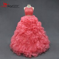 Wholesale 2016 Coral Quinceanera Dresses Two Piece Beaded Corset Ruffle Organza Ball Gown Cheap Quinceanera Gown Sweet