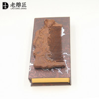 beautiful wood carvings - 2016 Natural Burma Rosewood Comb Carving Beautiful Ancient Ladies Comb head massage health care comb for women