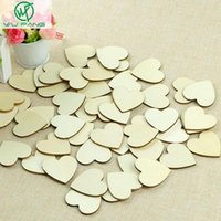 Wholesale 4cm Blank unfinished wooden heart crafts supplies laser cut rustic wood wedding rings ornaments