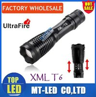 Wholesale DHL ship Cree XML T6 Black Urtrafire LED Flashlights Durable Flashlight Light LED Torches for Camping Lumen Aluminum Alloy Material