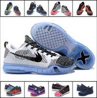 al por mayor x zapatos bajos de baloncesto-Zapatos de baloncesto bajos de calidad superior 2016 de Kobe 10 X hombres bajos de los zapatos de baloncesto de la armadura de KB 10 de los hombres Zapatos retros de entrenamiento BRYANT tamaño 7-12