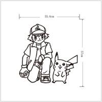 3D Sticker animal sketch art - Poke wall sticker Ash Ketchum and pikachu cartoon sickers black white sketch stickers cm for kids room Decor T403