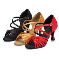 Wholesale Brand Salsa Dance Shoes For Women Girl Knot Latin Ballroom Tango Dance Shoes Customize Heel Plus Size Red Brown Black L073