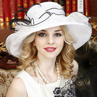 Wholesale Elegant White Fine gauze large brim hat party church wedding hats Fashion hat Sun Hats