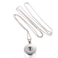 bead presses - Statement neckalces Chunk Charm Snap Button Pendant Necklace women DIY long Press bead chain pendant necklace