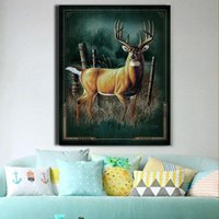 One Panel Oil Painting Abstract One Panel Modern Deer Wall Art Cyan Painting on Canvas a Elk Deer in Chaparral Oil Painting Picture NO Framed Home Decor For Living Room