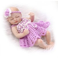 Wholesale 10 quot Full Silicone Body Little Baby Reborn Collectible Lifelike Newborn Boy Doll Soft Girls Toy Purple Dress