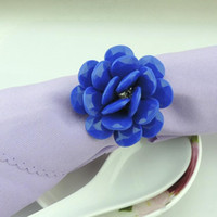 Wholesale 2016 New blue color rose flower shaped crystal napkin rings for Wedding Favor Supplies Party Table Decoration Accessories
