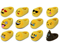 Wholesale Emoji Slippers Cartoon Plush Slipper Home With The Full Expression Women Men Slippers Winter House Shoes One Pair x13 cm