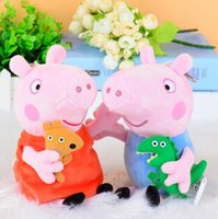 Cheap 19CM Pink Peppa George Pig Dolls Lovely Pig plush toys Pigs Dolls Cartoon Stuffed Plush Toy Cartoon pig toys Free shipping