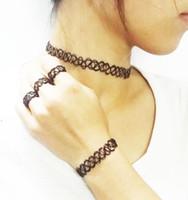 Wholesale Handmade Vintage Hippy Stretch Tattoo Choker Necklace Bracelet Ring Jewelry Sets Elastic Line Punk Grunge Statement Jewelry Sets