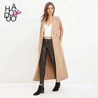 Wholesale 2016 New Fashion OL Style Two Button Women s Jacket Suit Collar Slim Outerwear Sleeveless Long Coat