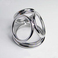 Wholesale Stainless steel four rings cock ring metal penis ring male time delay penis ring ball stretcher sex products for men penis