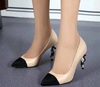 Wholesale 2016 New Womens High Heels genuine leather pointed toe pearl snake heel wedding party shoes CC logo women pump genuine leather pump