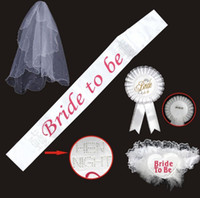 bachelorette party sashes - Bride To Be Set Rosette mantilla Badge Sash Garter Veil tiara Hen Night Bachelorette wedding Party props white drop shipping