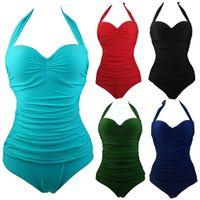 bathing suits one piece vintage - New One Piece Swimsuit Women Plus Size Swimwear Retro Vintage Bathing Suits Beachwear Padded Print Swim Wear S To XL