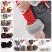 Wholesale Imitation Rabbit Fur Oversleeve Windproof Winter Warm Women Soft Covered Fingerless Hand Ring Cuff Wristband Sleevelet colors OOA899