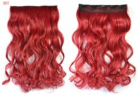 Wholesale wine red color synthetic clip in hair extensions for women clips in one piece for full head cm long curly heat resistant