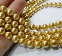 akoya pearl beads - 10mm gold akoya Round Shell Pearls Beads
