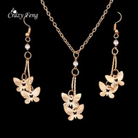 Wholesale New butterfly women s fashion Jewelry Set Necklace Earrings Gold plated wedding jewelry set classy style