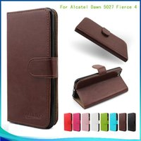 alcatel case - For Alcatel Dawn A5027 Flip PU Leather pouch Walllet case cover inside Credit card slots with stand Hot Sell