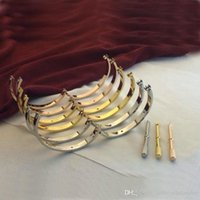 Wholesale Fashion L titanium steel K gold plated Love bracelet bangle screw gem bangle screwdriver bracelet for women couple Size19