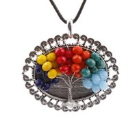 antique brass wire - Charms Antique Silver Oval Colorful Gemstone Beads Tree of Life Wire Wrap Pendant Handmade Leather Cord Necklace Charms Jewelry