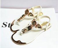 Wholesale 2016 gladiator sandals slippers Europe station women fashion flat sandals comfort rhinestone thong flip flops flats sandals