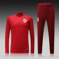 Wholesale Top Thai Quality long sleeve shirts Atletico Madrid Soccer Wear red Training suit men football sets tracksuit