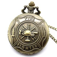 best fire steel - Retro Bronze Fire Fighter Control Quartz Vine Pocket Watch Necklace Pendant Men Jewelry Best Gift To Man