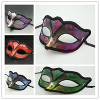 ball patches - Halloween Plastic Mask for Adult Fashion Painted Fox Masquerade Patch Party PVC Masks Sharp Mask Cosplay Party Ball Costume