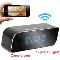 Wholesale 1280x720P HD P2P Wifi Camera Hidden Camera Clock Motion Activated Video Recorder Security Camcorder DVR for Android IOS APP Remote View