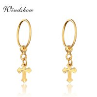 baby girl gold hoops - 24K Yellow Gold Plated Cross Pendant Round Circle Hies Small Hoop Earrings For Women Children Kids Girls Baby Jewelry