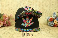 Wholesale Colorful Baseball Hat Hip hop hemp Leaf Flat Pop Bill Snapback Baseball Caps adjustable maples leaves caps for men women