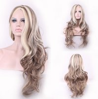 Wholesale Super cheap long wavy multicoloured blonde with brown synthetic lady s wig for women on sale