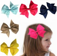 assorted hair color - Kids Girl Bow Hair Clips Children Hair Pin Ribbon Hair Accessories Baby Hairbows Assorted Colors