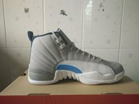 Cheap basketball shoes retro xii shoes White and grey men athletic shoes retail wholesale