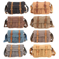 Wholesale Ship from USA Men Boy Vintage Canvas Leather Satchel School Military Shoulder Messenger Bag Casual Backpacks outdoor backpack