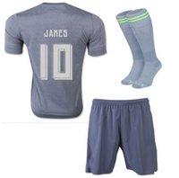 Wholesale 16 Real Madrid soccer jerseys gray camisetas de futbol Ronaldo Full Sets Football Shirts Shorts Socks Good Quality