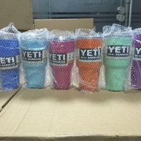 Wholesale YETI Tumbler Rambler Cups Large Capacity Stainless Steel Tumbler Mugs Pink Blue Light Blue Orange Purple Light Green Colorful YETI