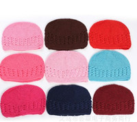 baby s hat - 2016 New Children Girls Boys Knitted Hats Baby Candy Color Handmade Weaved Cotton Kids Hats Size S M L Hollow Out Hats B4101