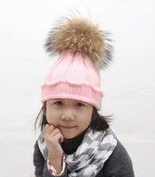 Cheap 2016 Fashion Children Winter Raccoon Fur Hat Girls Boys Fur pompoms Ball Baby Beanies Cap Kids Crochet Knitted Hats free shipping
