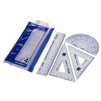 Wholesale 4Pcs students drawing G school supplies Set square ruler protractor four sets