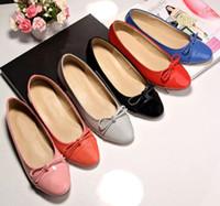 Wholesale Candy Color Designer C Print Genuine Leather Ballet Flats Lady Slip On Office Lady Woman Dress Shoes Sz