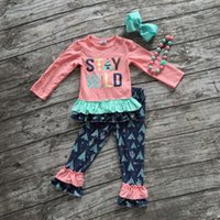 girls boutique clothes - 2016 Fall winter baby clothes boutique outfits quot stay wild quot clothing pant long sleeves sets with matching bow and necklaceset