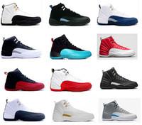 achat en gros de french-2016 rétro air 12 XII chaussures de basket-ball homme ovo Gym blanc rouge bleu français Taxi Playoffs loup gris grippe jeu Les baskets Master